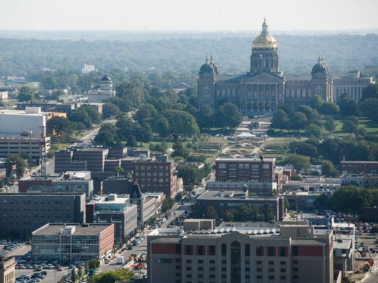 A look at the Des Moines skyline including the Iowa Capitol as seen from the Financial Center.