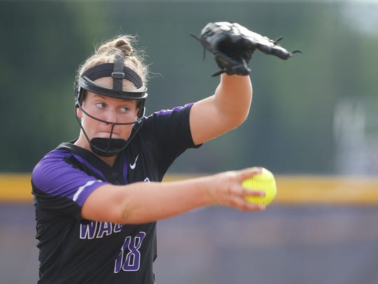 Waukee's Sarah Schaefer pitches during their game against