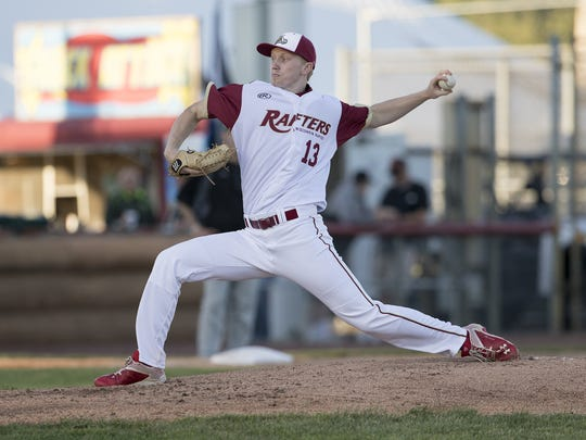 Wisconsin Rapids Rafters starter Gareth Stroh pitches during the top of the third inning during the Rafters home opener Wednesday against the Green Bay Bullfrogs at Witter Park in Wisconsin Rapids.