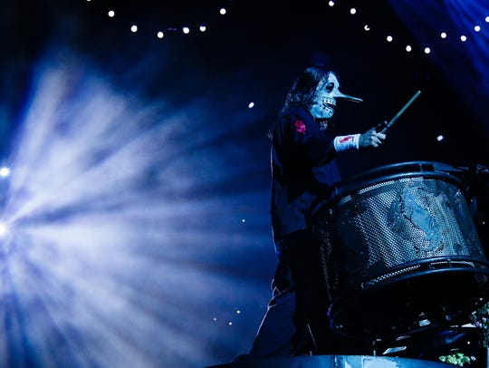 Slipknot percussionist Chris Fehn plays with the band in Des Moines at Wells Fargo Arena on Friday, August 5, 2016.