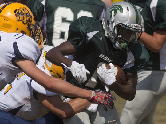 York Tech's Tyrese Smallwood, right, scores a touchdown.