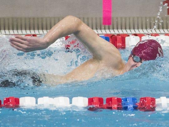 Shippensburg's Sam Nonemaker broke the school record in the 100 backstroke last week against Trinity.