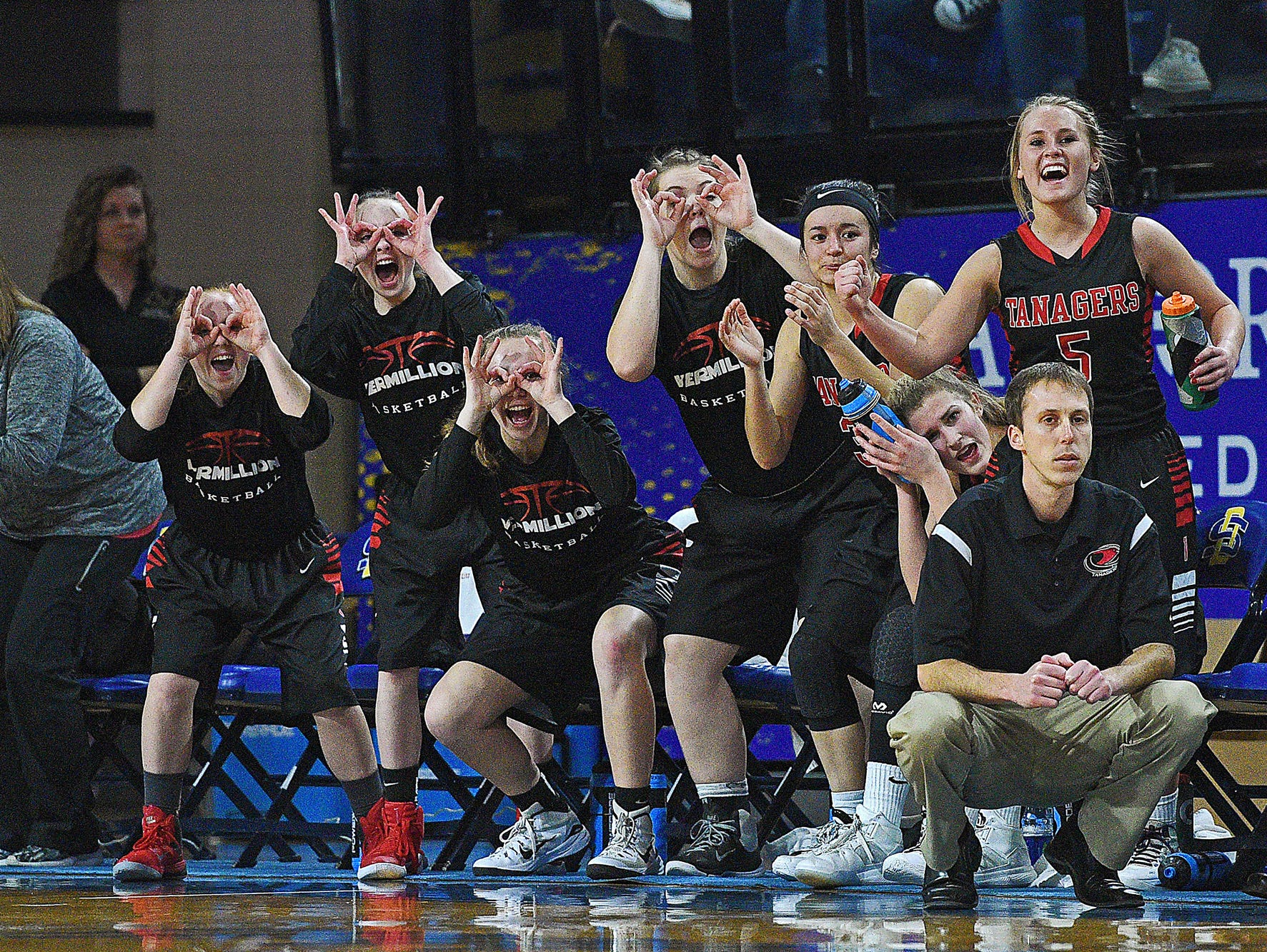 Vermillion players react from the bench after a teammate scored during a 2017 SDHSAA Class A State Girls Basketball Tournament quarterfinal game against Hamlin Thursday, March 9, 2017, at Frost Arena on the South Dakota State University campus in Brookings, S.D. Vermillion beat Hamlin 49-43.