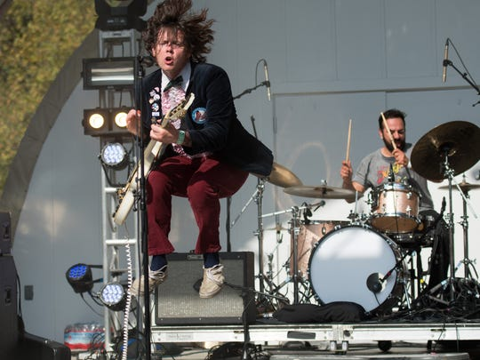 Beach Slang performs at the Dogfish Head Analog-A-Go-Go Festival at Bellevue State Park on September 17, 2016.