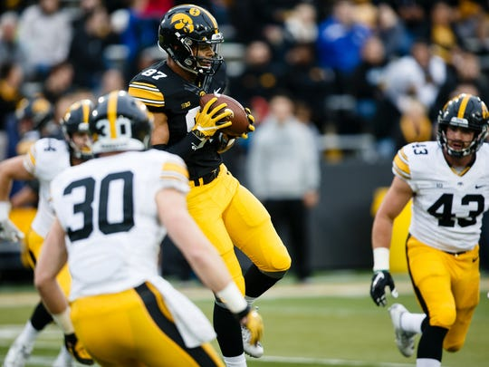 Sophomore Noah Fant was one of five Hawkeye tight ends