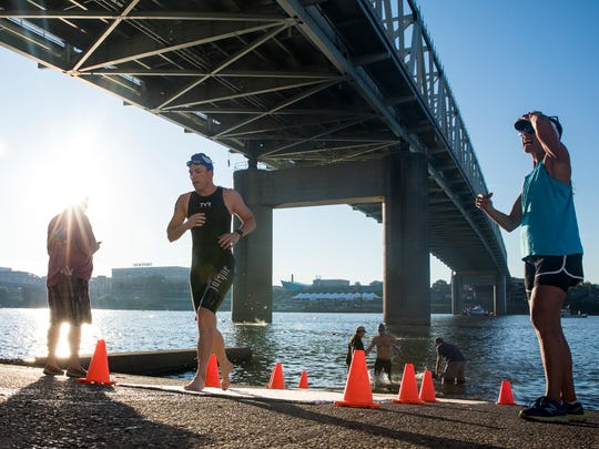 Swimmers finish the Bill Keating, Jr. Great Ohio River Swim at the Public Landing Sunday, September 24, 2017.