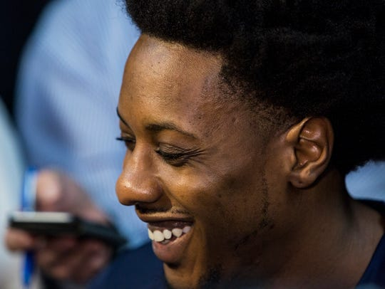 September 25, 2017 - Mario Chalmers smiles while speaking