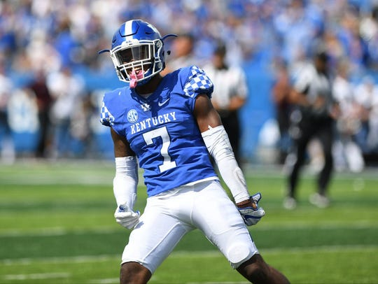 University of Kentucky safety Mike Edwards celebrates