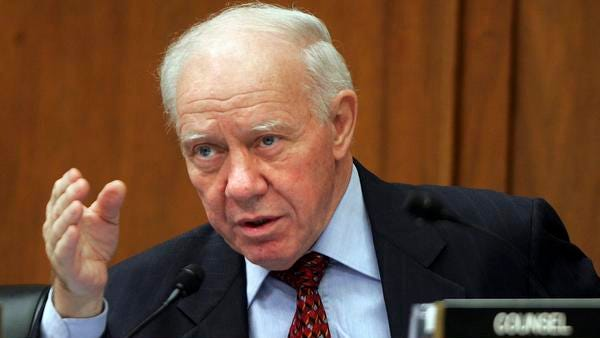 FILE - In a Wednesday, April 23, 2008 file photo, House Transportation Committee Chairman Rep. Jim Oberstar, D-Minn., presides at a hearing on Capitol Hill in Washington. Former U.S. Rep. Jim Oberstar, who served northeastern Minnesota for 36 years, died in his sleep Saturday, May 3, 2014, according to a statement from his family. He was 79. (AP Photo/Lawrence Jackson, File)