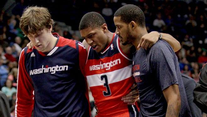 Washington Wizards guard Bradley Beal (3) left Friday's game with a leg injury.
