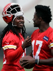 Kansas City Chiefs wide receivers Sammy Watkins, left,
