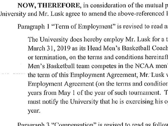 "This clause in Paul Lusk's contract could trigger a five-year ""reset"" of his contract. The clause was removed on Jan. 31."