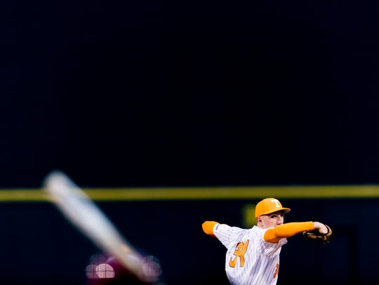 Tennessee pitcher Garrett Crochet (34)  pitches during
