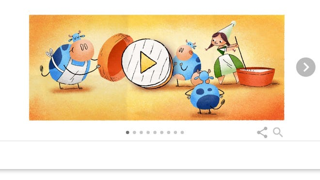 A Google Doodle honoring cheesemaker Marie Harel.