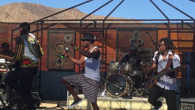 Mokoomba, from the Victoria Falls area of Zimbabwe, performs Sunday at the Joshua Tree Music Festival
