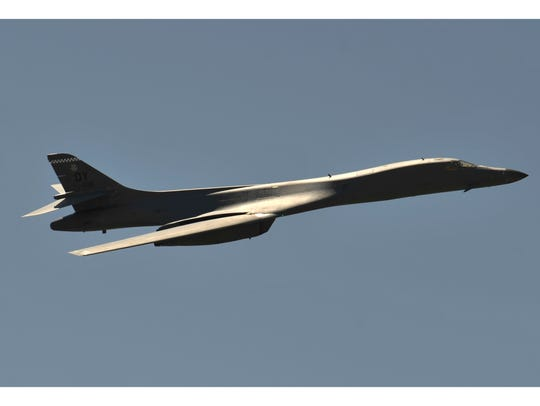 A B-1 bomber flies overhead during the Dyess Big Country Air & Space Expo at Dyess Air Force Base Saturday May 12. The Air Force announced Thursday the plane is grounded after an issue with the parachute system was detected.
