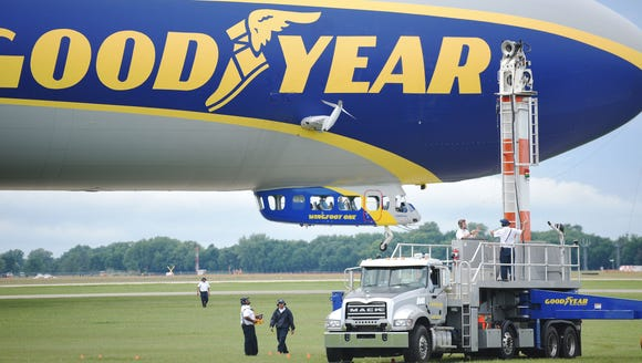 The Goodyear Blimp takes off at the Sioux Falls Regional