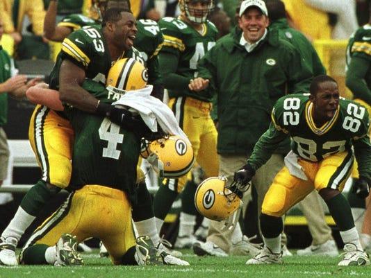 Brett Favre, George Koonce, Desmond Howard - Green Bay Packers vs. Oakland Raiders
