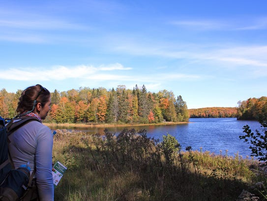 The North Country Trail passes by Lake Three in the