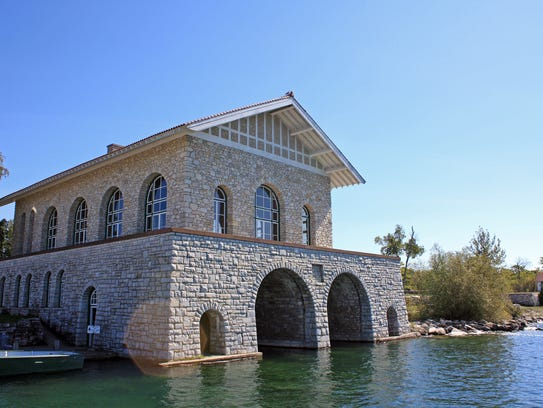 The boathouse and Viking Hall greet visitors to Rock