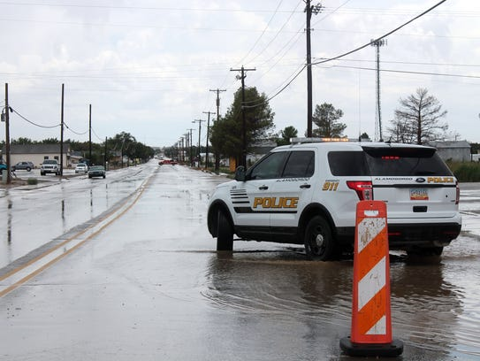 Officers set up a roadblock on North Florida Avenue