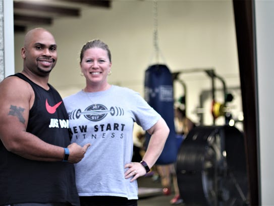 Brooks and Jama Dean outside New Start Fitness in North