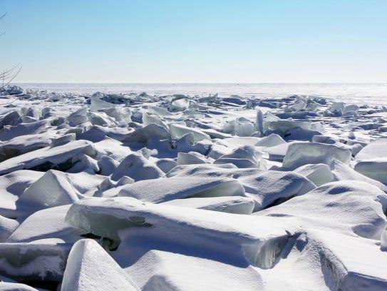 Ice shoves form along the shore of Lake Winnebago at