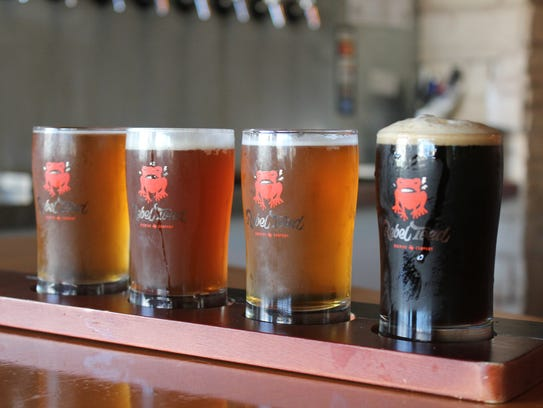 A flight of beers is served at Rebel Toad Brewing Co.