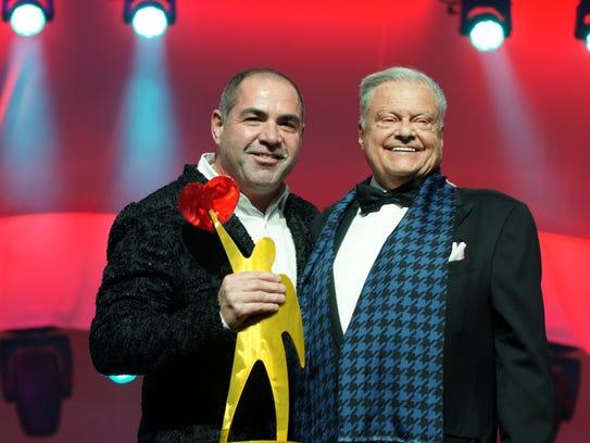 Producing Sponsor, Harold Matzner (r), presented Tony