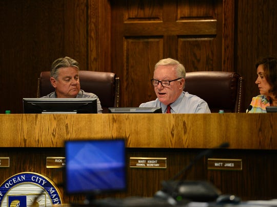 Ocean City Mayor Rick Meehan speaks as he agrees to