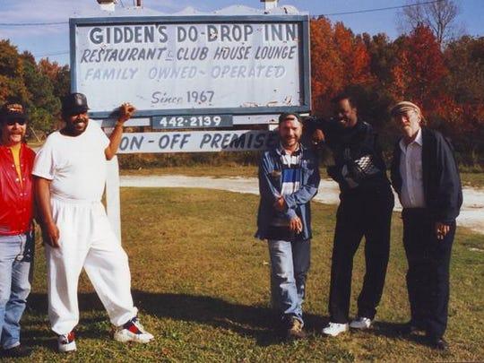 "Tom Parks, James Crudup, Tim Drummond, Jonas Crudup and Denzil ""Dumpy"" Rice at the Gidden's Do-Drop Inn in Weirwood, Va."