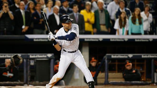 New York Yankees shortstop Derek Jeter (2) bats against the Baltimore Orioles during a baseball game, Thursday, Sept. 25, 2014, in New York. (AP Photo/Kathy Willens)  ORG XMIT: NYJJ