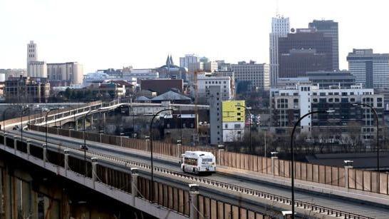 Skyline view of Akron looking across the All-American Bridge.