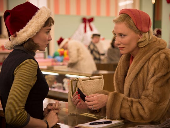 """Therese (Rooney Mara, left) and Carol (Cate Blanchett) meet in a department store in """"Carol."""""""