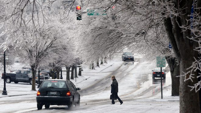 Icy conditions Tuesday morning on South Church street at Sevier Street in Murfresboro.