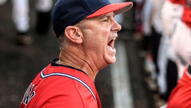 Mississippi head coach Mike Bianco reacts during the game against Tennessee Tech in an NCAA college baseball regional game, Sunday, June 3, 2018, in Oxford, Miss. Mississippi won 9-8. (Bruce Newman/The Oxford Eagle via AP)