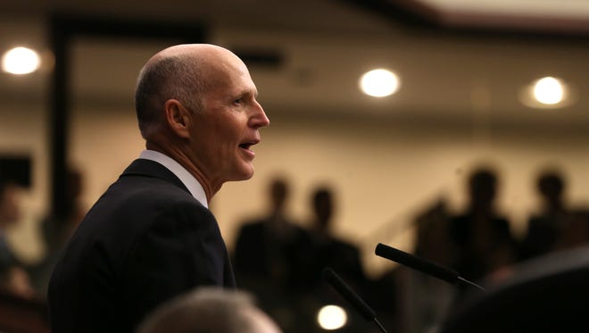 Gov. Rick Scott gives his State of the State address to legislators on the first day of session at the Capitol on Tuesday, March 7, 2017.