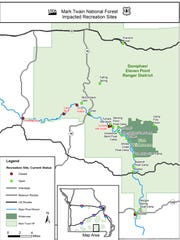 A map from the U.S. Forest Service showing which flood-damaged