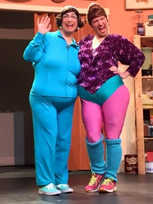 Delphine and Carmella in rehearsal for OY VEY, IT'S THE CALAMARI SISTERS