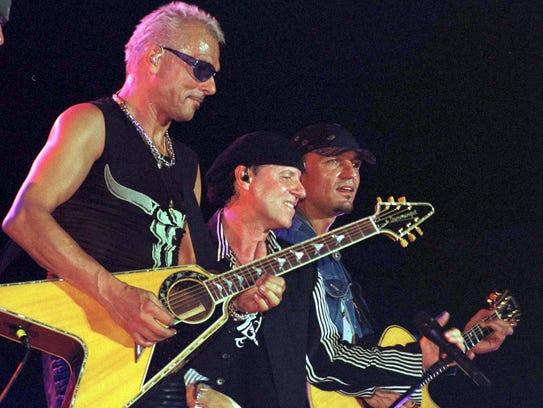 Guitarist Rudolf Schenker(L), lead singer Klaus Meine(C)