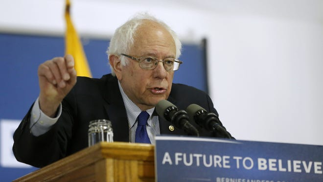 Democratic presidential candidate, Sen. Bernie Sanders, I-Vt. speaks at a rally at a local union hall, Monday, April 4, 2016, in Janesville, Wis. The campaign had more than 500 people going door to door Saturday, March 26, 2016.