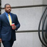 FILE - In this Nov. 30, 2015 file photo, William Porter, one of six Baltimore city police officers charged in connection to the death of Freddie Gray, arrives at a courthouse for jury selection in his trial in Baltimore. The city of Baltimore was bracing for a verdict as closing arguments were planned Monday from defense lawyers for Porter.