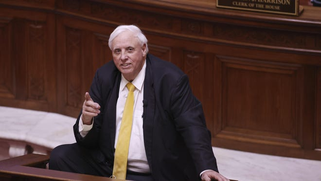 West Virginia Gov. Jim Justice delivers his State of the State address in the House Chambers of the West Virginia State Capitol Building in Charleston on Feb. 10.