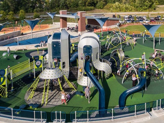 The new playground at the Monon Community Center opened in 2016.