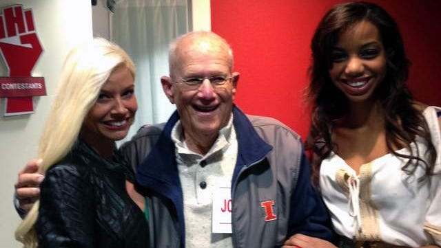 Johnny Orris, meets with call girl Caressa Kisses, left, and Rain Riches, at a taping of the 'The Howard Stern Show' in October.