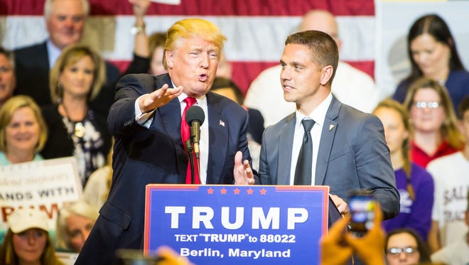 Donald Trump introduces Seahawk alum Kevin Chmielewski, '98, during a rally held at Stephen Decatur High School on Wednesday, April 20 in Berlin.