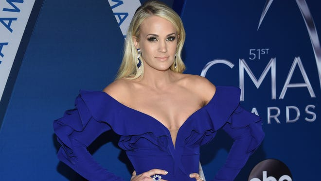 Carrie Underwood at the 51st annual CMA Awards on Nov. 8, 2017, in Nashville, just two days she was injured in an accidental fall that led to dozens of stitches on her face.