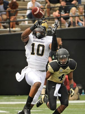 Vanderbilt's Trent Sherfield (10) is a hopeful play-maker for the Commodores this season.