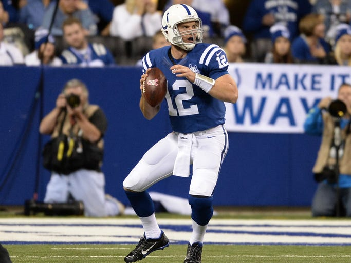 Indianapolis Colts quarterback Andrew Luck (12) prepares to pass in a 2013 game arter against the Denver Broncos.