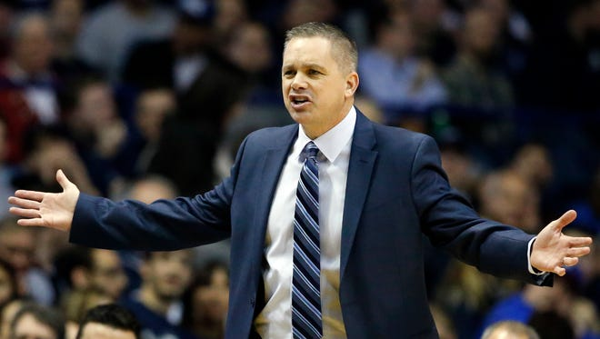 Butler head coach Chris Holtmann reacts to a call against DePaul during the first half of an NCAA college basketball game Saturday, Jan. 21, 2017, in Rosemont, Ill.
